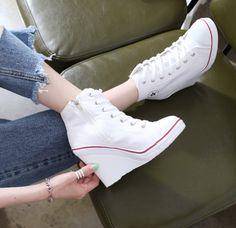 d57fbd92118 Korean High-Back Wedge Sneakers