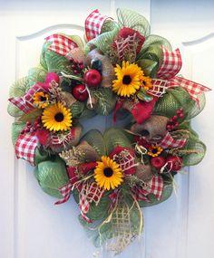 Apple and Sunflower wreath themed fall autumn teacher by lawler01, $59.99