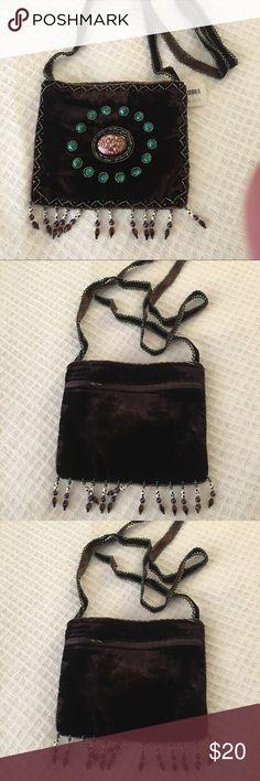 Beautiful small handbag made of velvet with stones Brown velvet d43629a317d