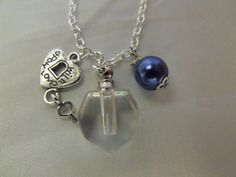 Perfume Bottle Pendant Necklace Clear Glass with by AGothShop, $15.00