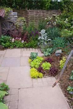 Backyard garden with vegetables and flowers, patio pavers, rustic ornaments, woven willow fence.maybe we could pull this off! Willow Fence, Patio Layout, Patio Flooring, Organic Gardening Tips, Organic Plants, Vegetable Gardening, Patio Plants, Indoor Plants, Backyard Landscaping