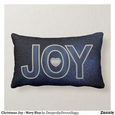 Christmas #Joy - #Navy #Blue Lumbar #ThrowPillow #Christmas #holiday #pillow #zazzle #designsbydonnasiggy