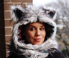 The Timber Wolf Hoodie Scarf with Mittens by ToppedHats on Etsy, $78.00