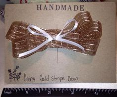 Handmade Fancy gold and white hair bow from BUNNY ROOTS BOWS. Perfect for any occasion, great as gifts. FREE SHIPPING!!! #bunnyrootsbows