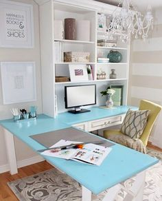 Contemporary Home Office Design Ideas - Search photos of contemporary office. Discover motivation for your trendy home office design with ideas for style, storage space and furniture. Home Office Space, Home Office Desks, Desk Space, Office Spaces, Office Setup, Office Chic, Future Office, Bright Office, Desk Setup
