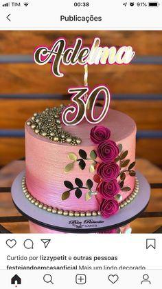 Creative Birthday Cakes, Pretty Birthday Cakes, Pretty Cakes, Beautiful Cakes, Buttercream Cake Decorating, 30 Cake, Modern Cakes, Bday Girl, Fancy Desserts