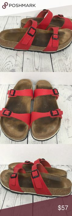 a002fd47375 Birkenstock Birkis Red Strap Sandals Excellent condition No rips or stains  Normal wear as shown on