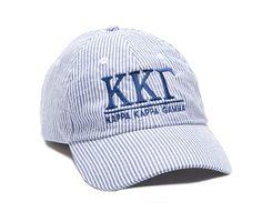 Kappa Kappa Gamma Seersucker Baseball Hat, Sassy Sorority Product, Sorority Gifts