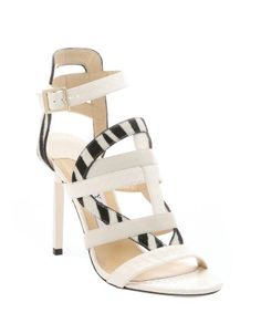 Jimmy Choo : white elaphe and zebra print calf hair 'Vanquish' mixed media sandals