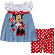 Minnie Mouse Newborn Baby Girl License Fashion Knit Top with Bike Short Set - 2 Pieces - Walmart.com