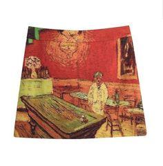 Fine Art Collection red theme Van gogh cafe de Paris short skirt