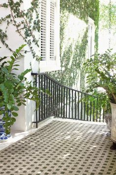 simple green plants adorning bright and airy hallway or balcony Outdoor Retreat, Outdoor Rooms, Outdoor Living, Outdoor Decor, Inside Pool, Dash And Albert, Woodworking Projects Plans, Green Plants, Deck