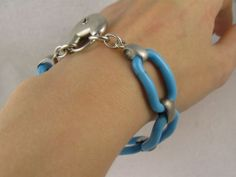 Unusual Antique Victorian Turquoise Glass & Silver Padlock Bracelet from blackwicks on Ruby Lane