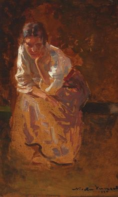 fleurdulys: Lost in Thought - Nicolae Vermont 1924 Vermont, Lost In Thought, Post Impressionism, Portrait Art, Portraits, Portrait Paintings, Retro Art, Figure Painting, Painting Art
