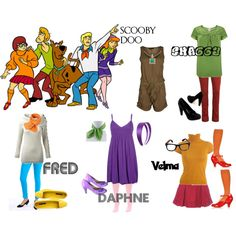 """""""Scooby Doo and the Mystery Gang"""" costumes. I've already done this once, but I absolutely love Scooby Doo. Cute Group Halloween Costumes, Costumes For Teens, Halloween 2014, Group Costumes, Disney Costumes, Disney Outfits, Holidays Halloween, Cosplay Costumes, Cosplay Ideas"""