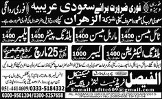 Electrician, Labor and Skilled Worker Required Saudi Arabia Jobs.