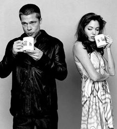 Mr and Mrs Smith (now Mr and Mrs Pitt) enjoying their coffee!