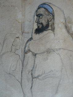 CHASSERIAU Théodore,1846 - Arabe barbu et autres Figures - drawing - Détail 16