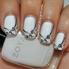 Black & White nails very nice Get Nails, Fancy Nails, Gorgeous Nails, Pretty Nails, Manicure E Pedicure, Nagel Gel, Flower Nails, Nail Flowers, Creative Nails