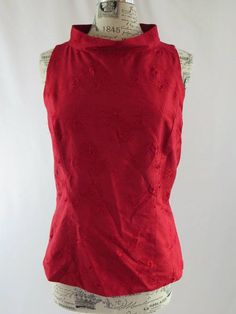 Dana Buchman Red Silk Floral Embroidered Top Size 10