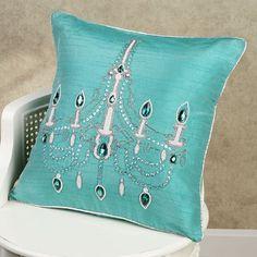 Home Chandelier Decorative Pillow Turquoise ~ Ʀεƥɪииεð вƴ╭ Tiffany Room, Tiffany Blue, Cute Pillows, Throw Pillows, Decor Pillows, Pillow Fight, Pillow Talk, Blue Chandelier, Blue Home Decor