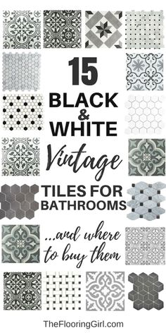 Home Remodel Hacks 15 black and white stenciled and vintage tiles for a retro vintage or farmhouse style.Home Remodel Hacks 15 black and white stenciled and vintage tiles for a retro vintage or farmhouse style. Bad Styling, Vintage Bathrooms, Farmhouse Bathrooms, Vintage Bathroom Floor, Vintage Tile Floor, Retro Tile, 1920s Bathroom, Girl Bathrooms, Dream Bathrooms