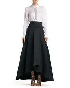 Crystal Beaded Satin Faced Organza Blouse & Duchesse Origami Ruffle Gown Skirt by St. John Collection at Neiman Marcus. Evening Blouses, Evening Gowns, Modern Filipiniana Gown, Black Ruffle Skirt, Pleated Skirt, Chiffon Skirt, Midi Skirt, Gown Skirt, Gala Dresses