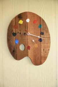 palette wall clock made of palettes - artist palette . - Artist palette wall clock made of pallets – Artist palette -Artist palette wall clock made of palettes - artist palette . - Artist palette wall clock made of pallets – Artist palette - Into The Woods, Mur Diy, Palette Wall, Diy Clock, Clock Ideas, Clock Decor, Clock Craft, Wall Decor, How To Make Wall Clock