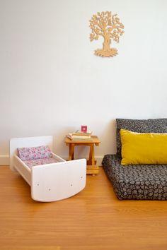 Wooden toy crib