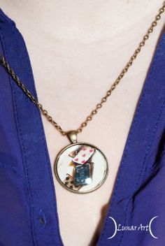 Vintage, retro necklace with image of cards, worldwide free shipping