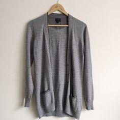 NEW! Banana Republic 100% Wool Gray Cardigan! 100% Merino wool • gray cardigan • darker gray trim on the close • marble - like buttons • a perfect staple! Banana Republic Sweaters Cardigans