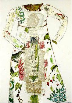 botanical dress - mixed media on paper janet taylor pickett