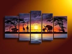hand-painted-wall-art-African-elephants-deer-Home-Decoration-Modern-Landscape