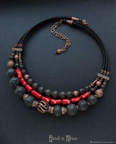 Jewelry Crafts, Jewelry Art, Jewelry Necklaces, Jewelry Design, Coral Jewelry, Glass Jewelry, Gemstone Jewelry, Diy Necklace, Necklace Designs
