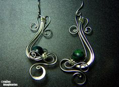 So flowy.  Tags: Wire wrapped, Wire weaving, Wire wrapping, Wire wrapped earrings