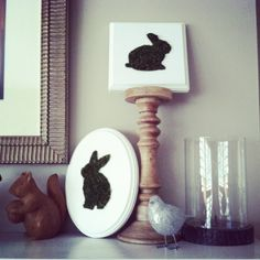 I made a gazillion of these fun little moss bunny plaques. These two made my mantle.
