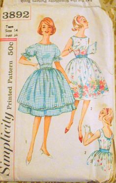 Simplicity 3892 full skirt dress bust 34 pattern, gathered skirt,belted dress pattern, dress with bow, overskirt pattern, teen dress pattern