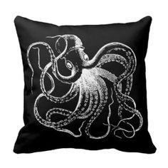Black & White Vintage Octopus Illustration Throw Pillow