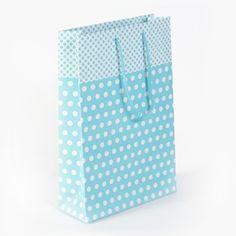 Detayları Göster İpli Karton Çanta 17x25 cm (25'li) Mavi Puantiyeli
