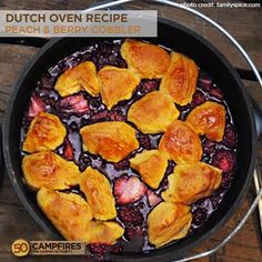 Dutch Oven Peach and Berry Cobbler Recipe - 50 Campfires