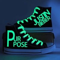 Wish | Fashion Justin Bieber Canvas Shoes Glow in the Dark Purpose Men Women's Shoes Teenagers Casual Hand Painted Graffiti Shoes