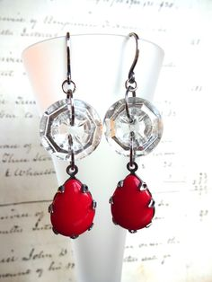 Vintage Glass Button Earrings, Red Glass Teardrop Beads, Clear Glass Buttons, Handmade Oxidized Square Silver Ear Wires, Gift Earrings