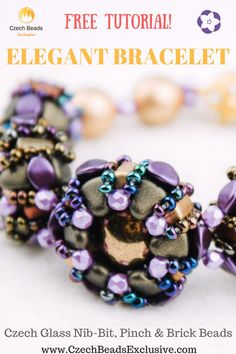 Czech Glass Czech Glass Nib-Bit, Pinch and Brick Beads: Elegant Bracelet � 1 Technique! Free Beading Video Tutorial  We are happy to present our new video tutorial of the Elegant Bracelet specially for you. The central element of the jewelry is a beaded bead, that can be used in absolutely different designs. Depending on how you would like to combine beaded beads together, you can create a bracelet, necklace or pendant with a pendant bead. It is also possible to make beaded beads of one size…