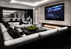 Gorgeous Black and white Luxury media room home theater decor with black and whi. Gorgeous Black and white Luxury media room home theater decor with black and white sectional, huge Home Theater Room Design, Home Cinema Room, Home Theater Decor, Home Theater Rooms, Home Theater Seating, Theater Seats, Game Room Design, Living Room Theaters, Living Room Tv