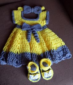 Crochet Baby Dress Set by ModishStitch on Etsy