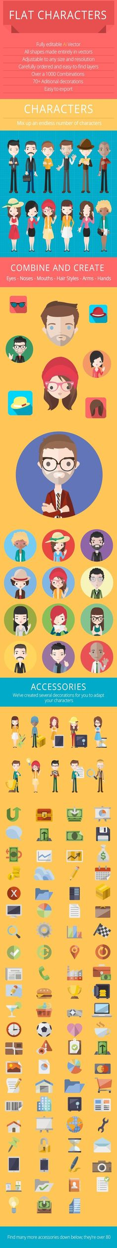 Free Flat Characters: More Than 3000 flat vector characters with over 200 accessories #infographics