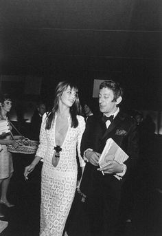 Jane Birkin with with Serge Gainsbourg at the Gala de l'Union des Artistes, 1969