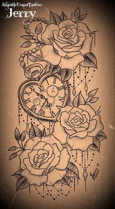 Resultado de imagem para pocket watch with roses