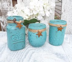 RUSTIC TURQUOISE JARS  Set of 3 Shabby Chic by HuckleberryVntg, $24.00