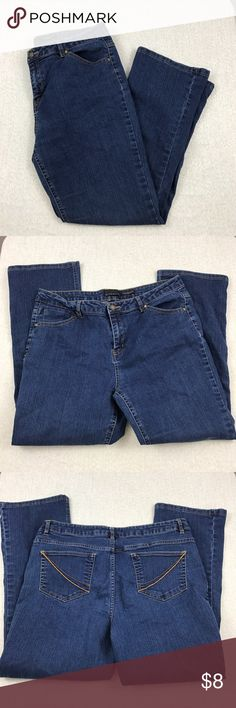 Attention contemporary fit jeans Size 14. Excellent condition. Flat unstreched approximate measurements are waist 16 1/2 inches rise 10 1/2 inches inseam 27 inches. 88% cotton 16% polyester 1% spandex attention Jeans Boot Cut